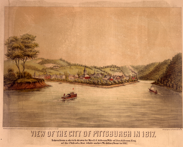 """View of the City of Pittsburgh in 1817,"" by Emma Gibson"