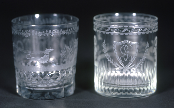 Tumblers engraved with greyhounds, made by Bakewell, Page, and Bakewell, c. 1825