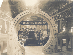 ALT:Westinghouse display at Columbian Exposition, 1893