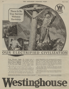 ALT:Westinghouse Electric advertisement that appeared in Saturday Evening Post, 1924
