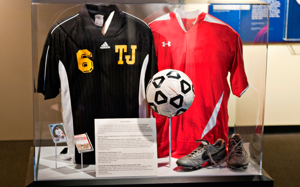 Thomas Jefferson High School and University of Maryland soccer jerseys, worn by Rich Costanzo