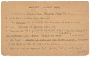 Front of POW card from Arthur Buchman, c.1943