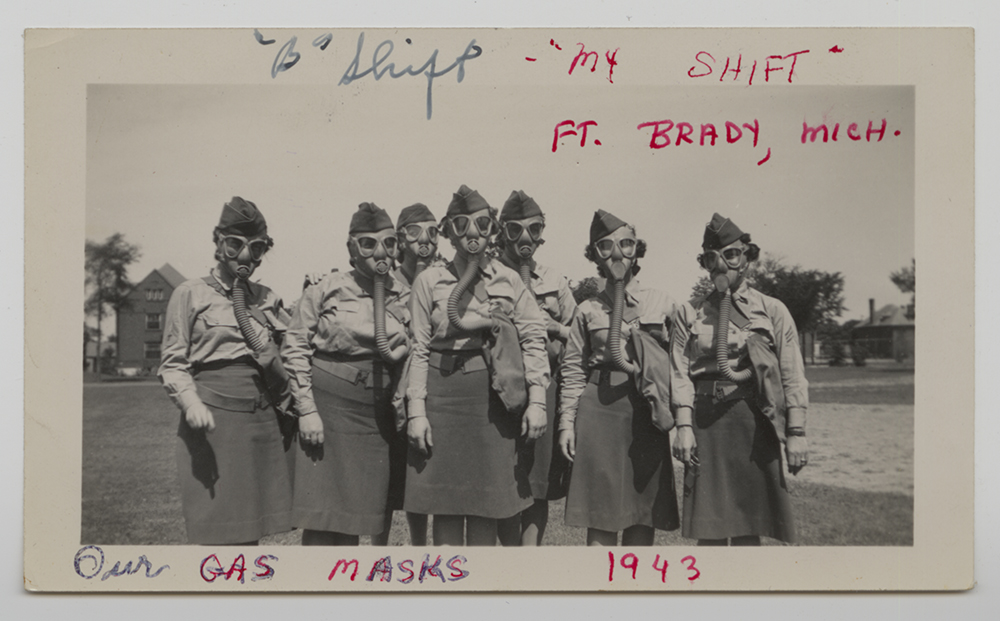 Gas mask drill at Ft. Brady, Michigan, 1943.