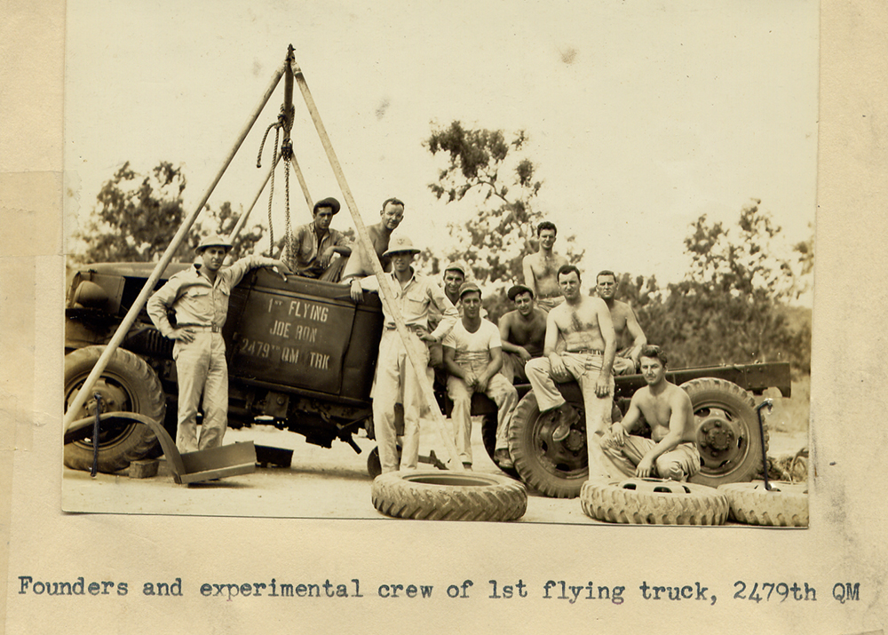 """Founders and experimental crew of """"Flying Joe-Ron"""" air transportable truck"""
