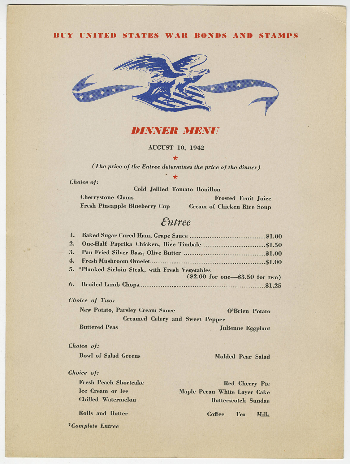 Dinner menu, 1942, Kaufmann's Dining Room