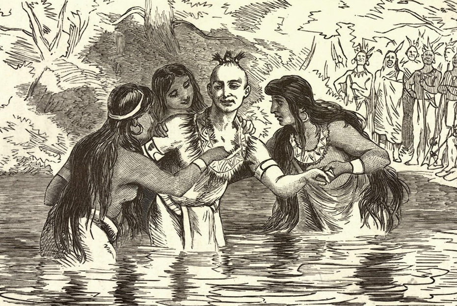 "James Smith's Indian ""baptism,"" a key part of the adoption ceremony, from Charles McKnight's ""Our Western Border 100 Years Ago,"" published in 1875."
