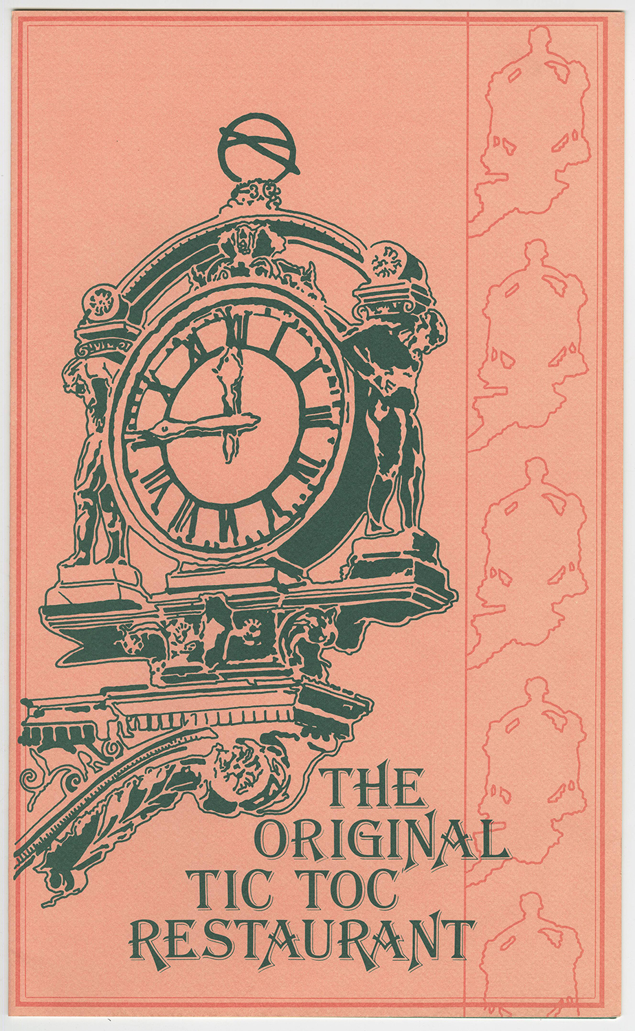 The front page of the Tic Toc Restaurant menu, Kaufmann's Department Store.