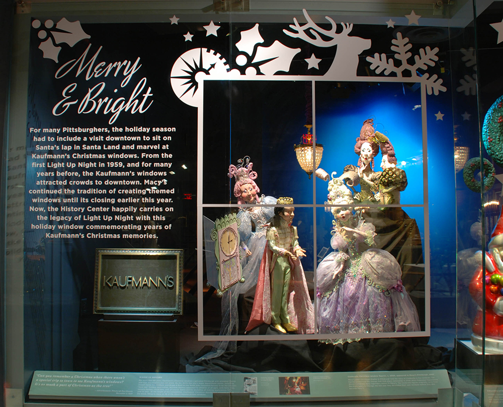 Cinderella characters from Macy's 2007 downtown window display brighten up this year's holiday display in the Special Collections Gallery at the History Center. Photo by Nicole Hayduk. Gift of Macy's Inc.