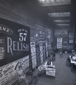 ALT:Designers in the company Sign Shop produce hand-painted and lithographed banners and posters, 1901. H.J. Heinz Company Photographs, MSP 57, Senator John Heinz History Center.