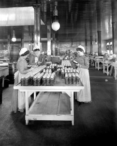 ALT:Company-made glass jars under review at an inspection station in Pittsburgh's North Side, 1905. H.J. Heinz Company Photographs, MSP 57, Senator John Heinz History Center.