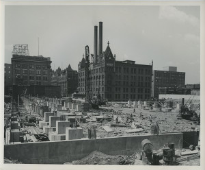 ALT:Construction of the Finished Goods Warehouse in Pittsburgh's North Side, 1951. H.J. Heinz Company Photographs, MSP 57, Senator John Heinz History Center.