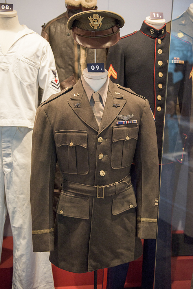 Jimmy Stewart's Army Air Corps uniform on display in the We Can Do It! WWII exhibit.