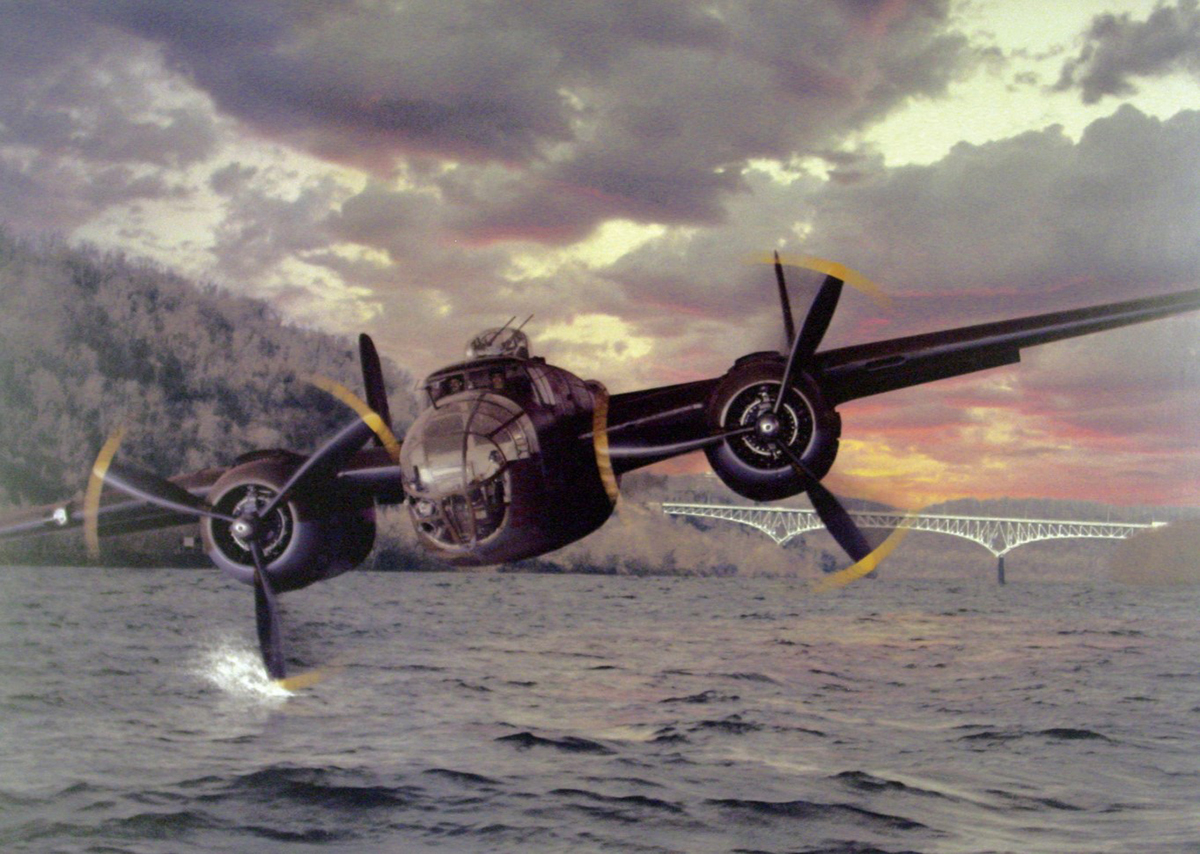 Illustration of the B-25 bomber over the Monongahela River. <em>Courtesy of the B-25 Recovery Group.</em>