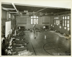ALT:Oliver High School gymnasium during the Flood of 1936. Pittsburgh Public School Photographs, MSP 117, Detre Library & Archives, Heinz History Center