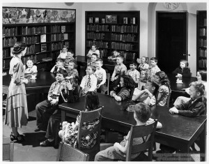 ALT:Concord Elementary School students in school library, 1951. Pittsburgh Public School Photographs, MSP 117, Detre Library & Archives, Heinz History Center