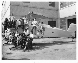 ALT:Vocational students posing with model glider that was constructed and flown as a part of the Pittsburgh Public School Aeronautics class, c. 1940s. Pittsburgh Public School Photographs, MSP 117, Detre Library & Archives, Heinz History Center