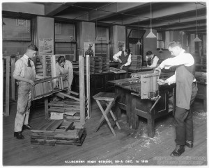 ALT:Woodshop class at Allegheny High School, 1918. Pittsburgh Public School Photographs, MSP 117, Detre Library & Archives, Heinz History Center