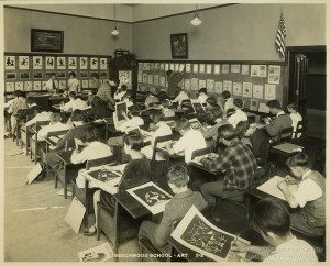 ALT:Beechwood Elementary School Art Class, 1928. Pittsburgh Public School Photographs, MSP 117, Detre Library & Archives, Heinz History Center