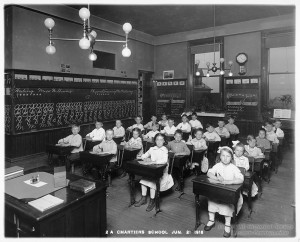 ALT:Chartiers Elementary School Classroom, 1916. Pittsburgh Public School Photographs, MSP 117, Detre Library & Archives, Heinz History Center