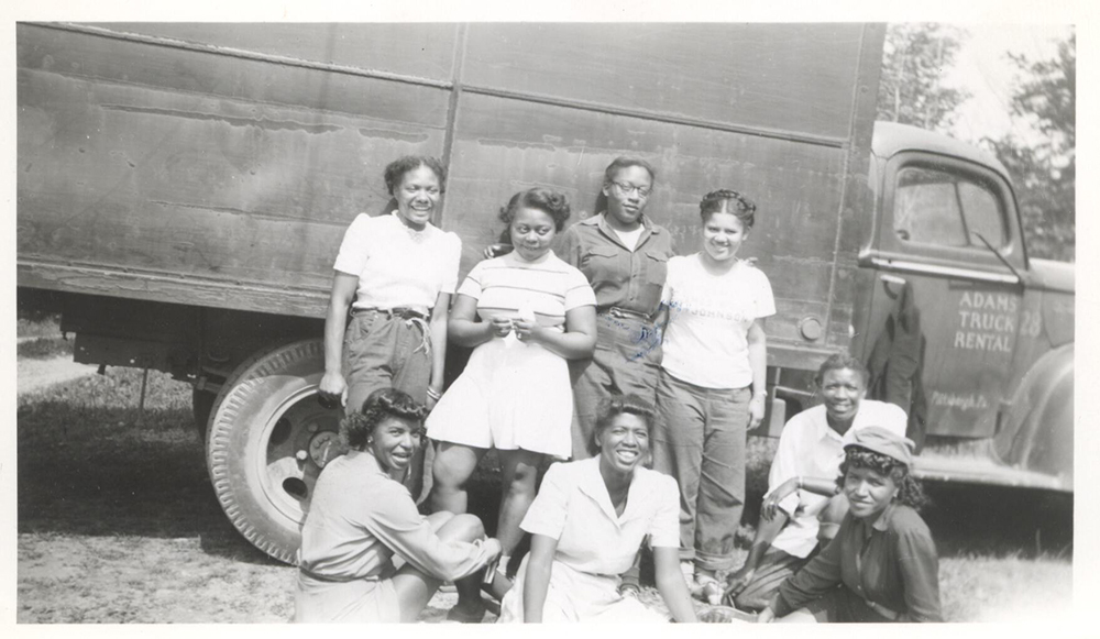 Girls at Camp Johnson, 1949. Camp Johnson Photographs, 1939-1995, MSP 229, Detre Library & Archives at the Heinz History Center.
