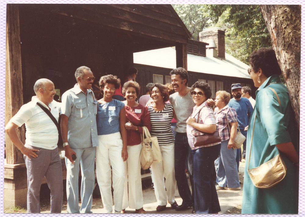 Former campers at a reunion, 1984. Camp Johnson Photographs, 1939-1995, MSP 229, Detre Library & Archives at the Heinz History Center.