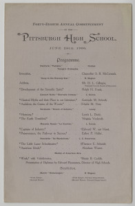 ALT:Pittsburgh High School commencement program, June 28, 1906. Pittsburgh Public School Records, MSP 117, Detre Library & Archives, Heinz History Center