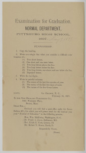 ALT:Pittsburgh High School Graduation Examination in the subject of Penmanship, 1897. Pittsburgh Public School Records, MSP 117, Detre Library & Archives, Heinz History Center