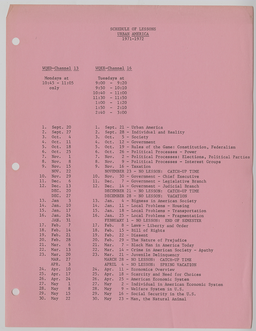 """Curriculum Guide for Urban America"", created by the Section of Television Education within the Pittsburgh Board of Public Education's Department of Curriculum and Instruction, c. 1970-1971. Pittsburgh Public School Records, MSP 117, Detre Library & Archives, Heinz History Center"