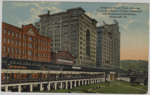 ALT:Allegheny riverfront showing the Duquesne Market, Fulton, Bessemer, and Natatorium Buildings, downtown Pittsburgh. General Postcard Collection, GPCC, Detre Library & Archives, Senator John Heinz History Center.