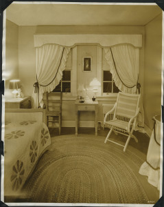 ALT:Bedroom in one of the homes in Chatham Village, summer 1934, view of chairs and windows. | Buhl Foundation Photographs, MSP 187, Detre Library & Archives at the Senator John Heinz History Center.