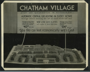 ALT:Photograph of plaster model of Chatham Village, with advertisement for gas heating in background. | Buhl Foundation Photographs, MSP 187, Detre Library & Archives at the Senator John Heinz History Center.