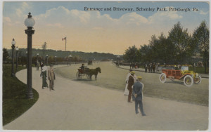 ALT:Entrance and driveway, Schenley Park, Pittsburgh. General Postcard Collection, GPCC, Detre Library & Archives, Senator John Heinz History Center.