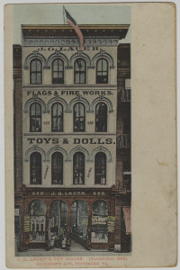 ALT:J.G. Lauer's Toy House, Liberty Avenue, downtown Pittsburgh, established 1842. General Postcard Collection, GPCC, Detre Library & Archives, Senator John Heinz History Center.