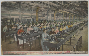 "ALT:Workers coil winding at the Westinghouse Electric & Manufacturing Company, East Pittsburgh, 1911. Postcard inscribed in part, ""About 700 or 800 girls work here."" General Postcard Collection, GPCC, Detre Library & Archives, Senator John Heinz History Center."