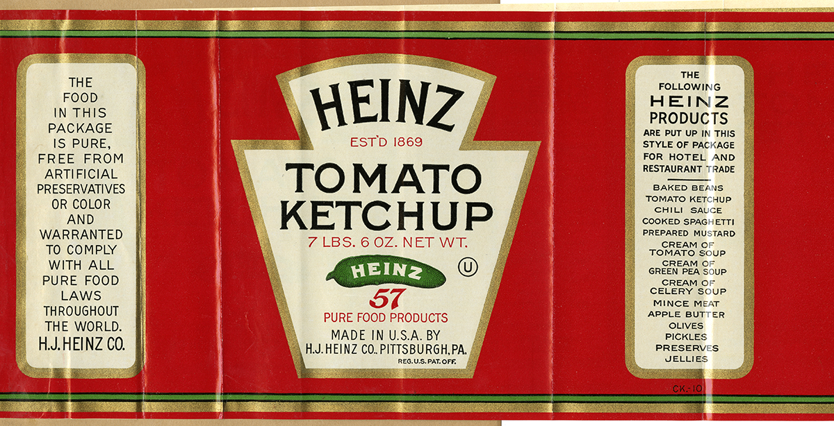Sample label for Heinz Tomato Ketchup, 1934. Detre Library & Archives at the Heinz History Center.