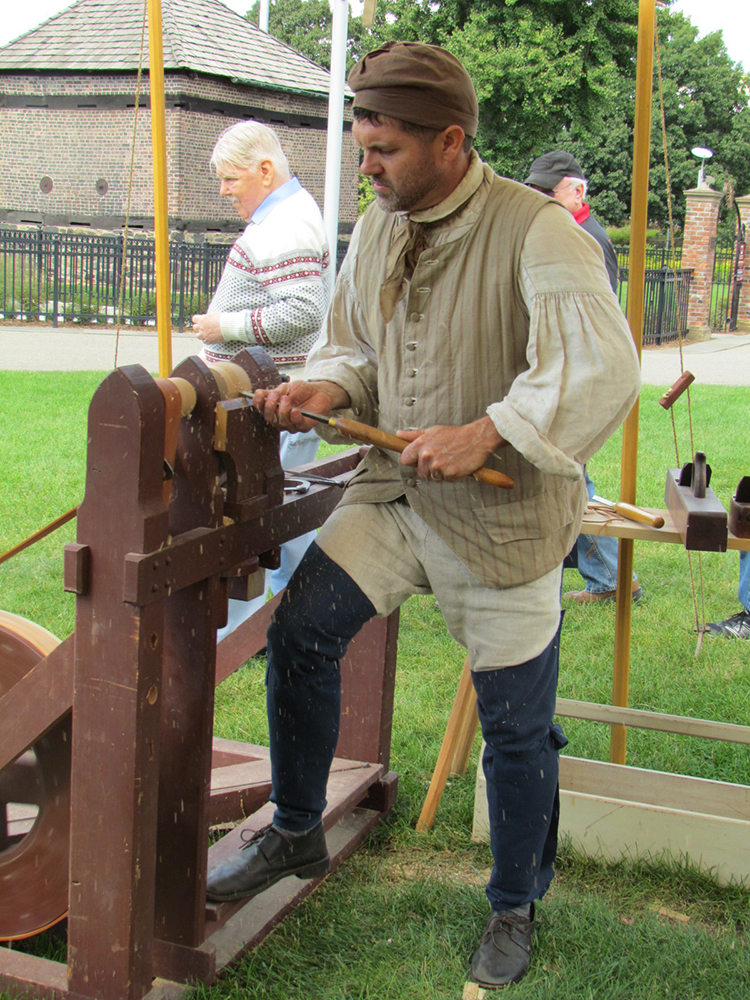 Wood work during the Fort Pitt Museum's Living History program.