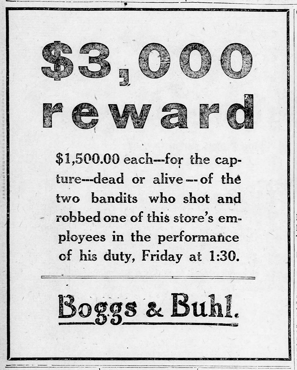 Reward advertisement from Boggs & Buhl Department Store. | Uncovering Crime: Documenting Pittsburgh's Criminal Past | Heinz History Center