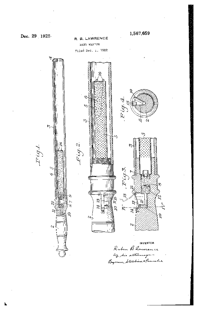 Patent drawing for a gas delivery hand weapon, filed December 1922 | Uncovering Crime: Documenting Pittsburgh's Criminal Past | Heinz History Center