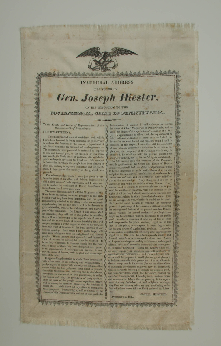 Large silk ribbon with the text of Pennsylvania Governor Joseph Hiester's inaugural address. 2015.22.857 Krasik Collection of Pennsylvania and Presidential Political Memorabilia, Heinz History Center.
