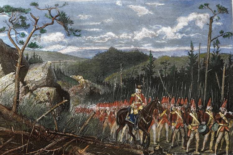 19th century engraving of Braddock's march for Fort Duquesne