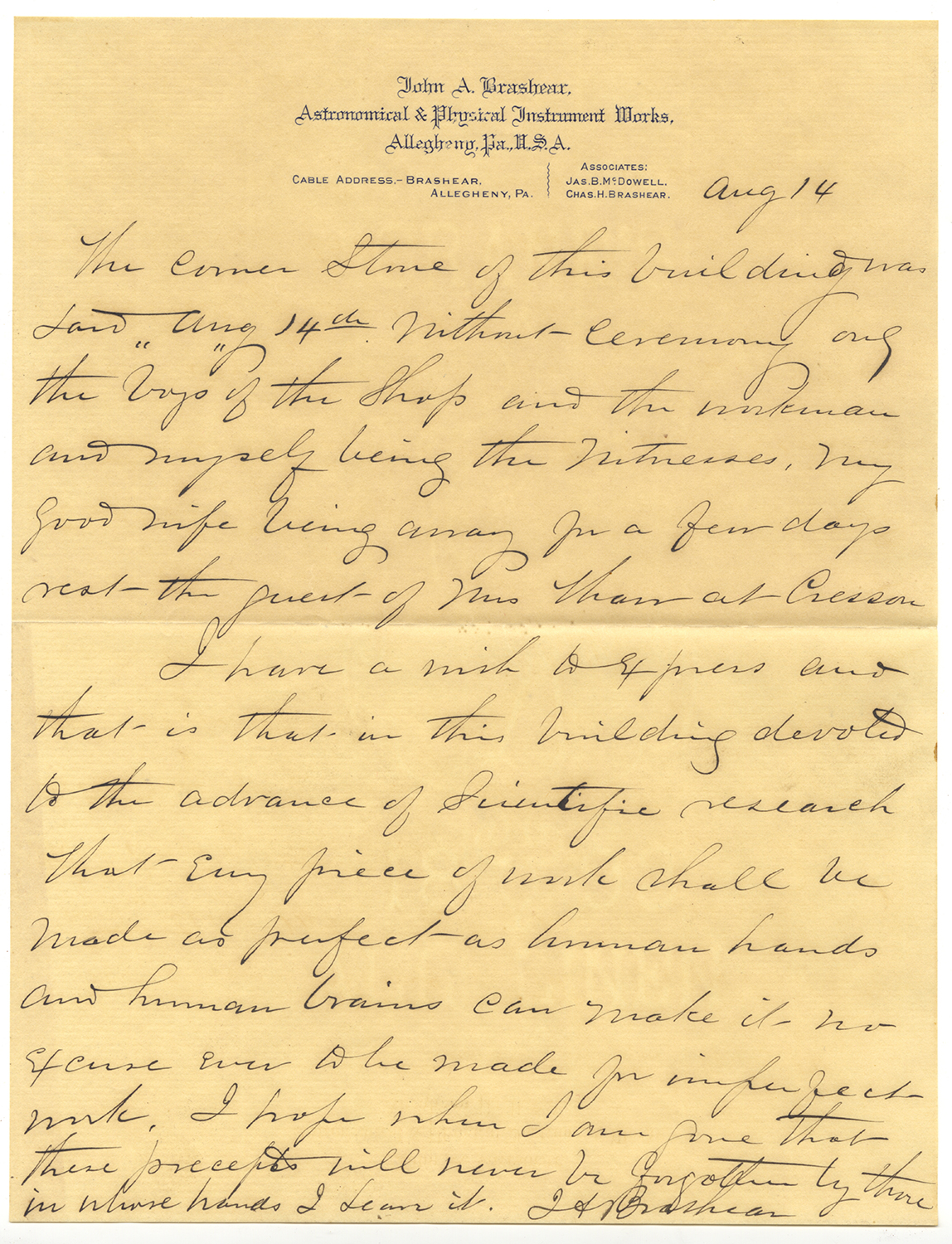 Letter written by John Brashear on Aug. 14, 1894, Heinz History Center.