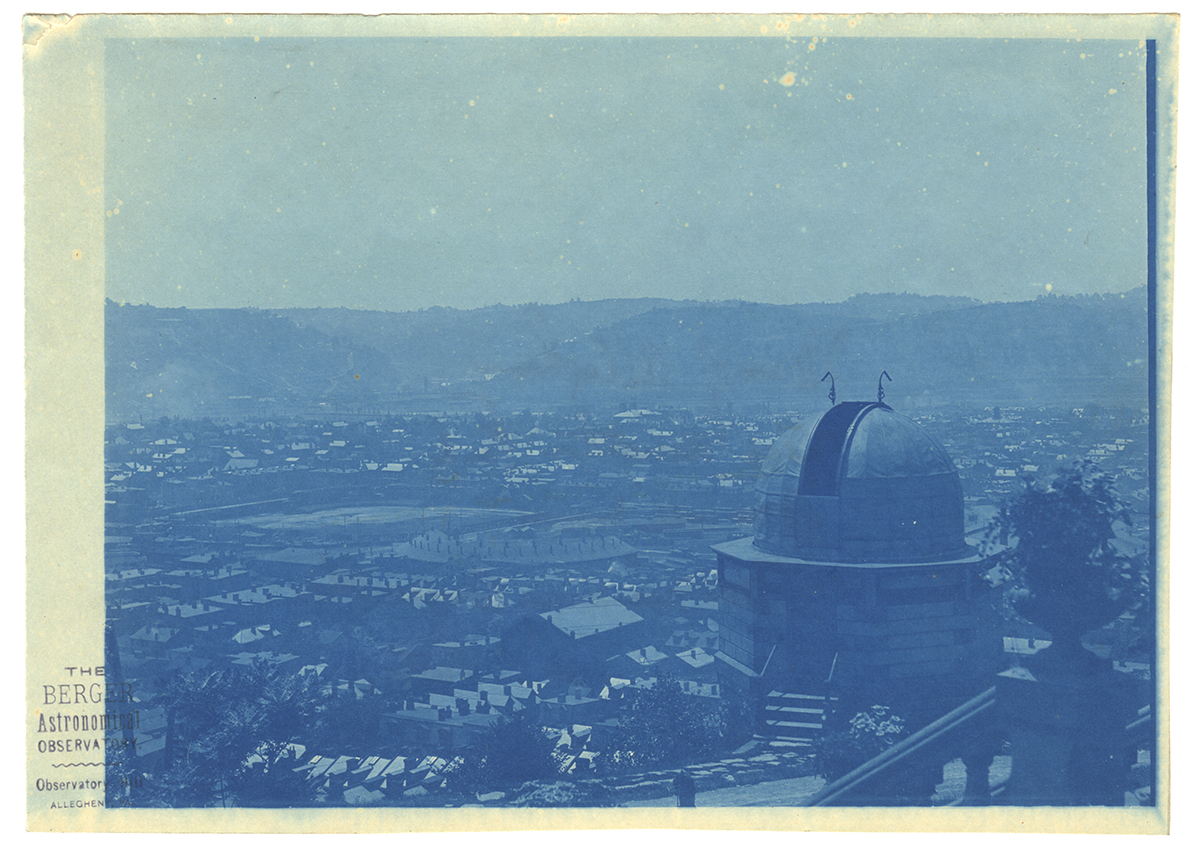 Cyanotype of Berger's Observatory with a rare view of Recreation Park ballpark visible as a field in the background at left, Heinz History Center.