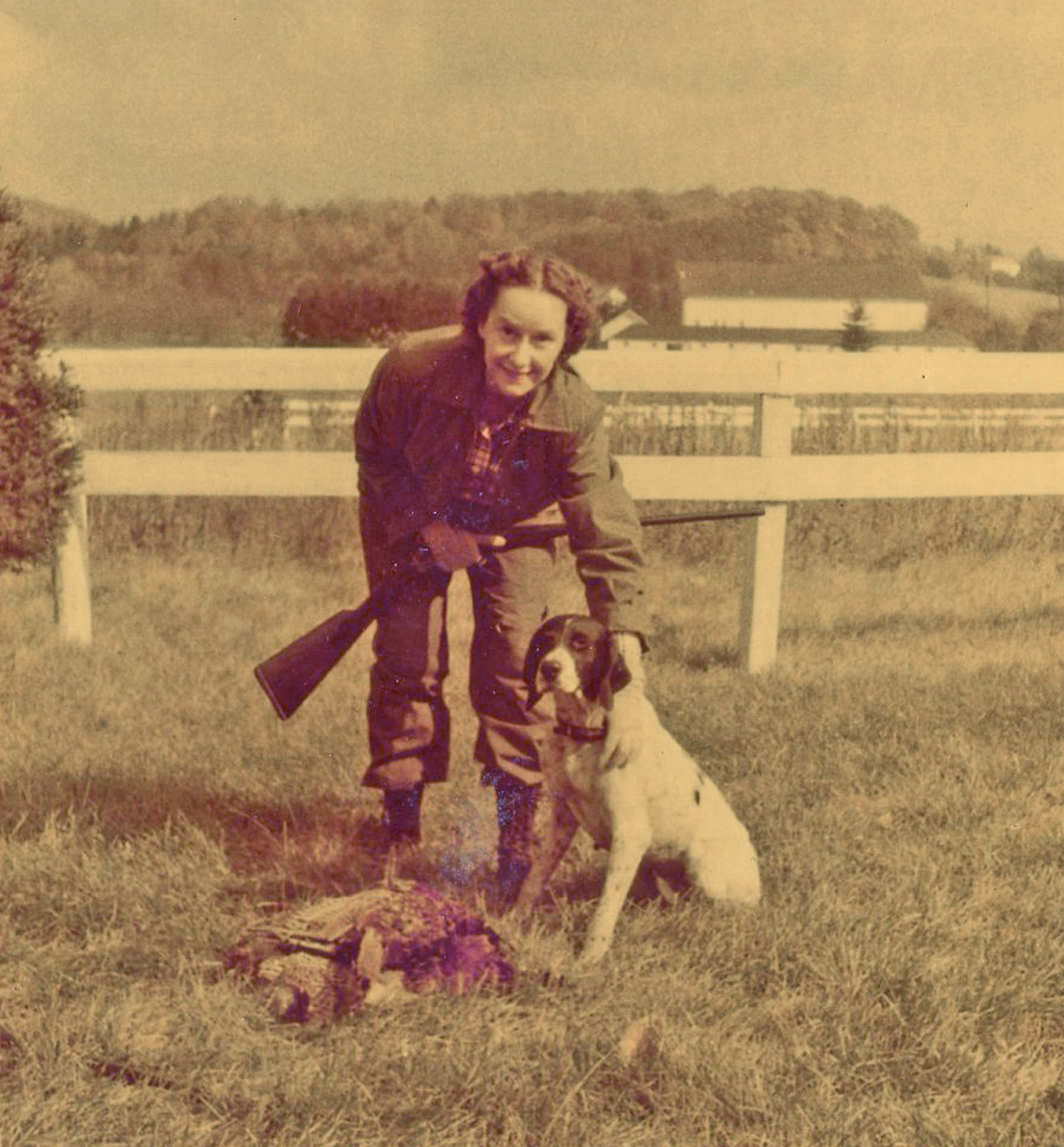 Evelyn Evans posing after a day hunting in the field, 1950s. Evans Family papers and photographs, MSS 818, Detre Library & Archives, Heinz History Center.