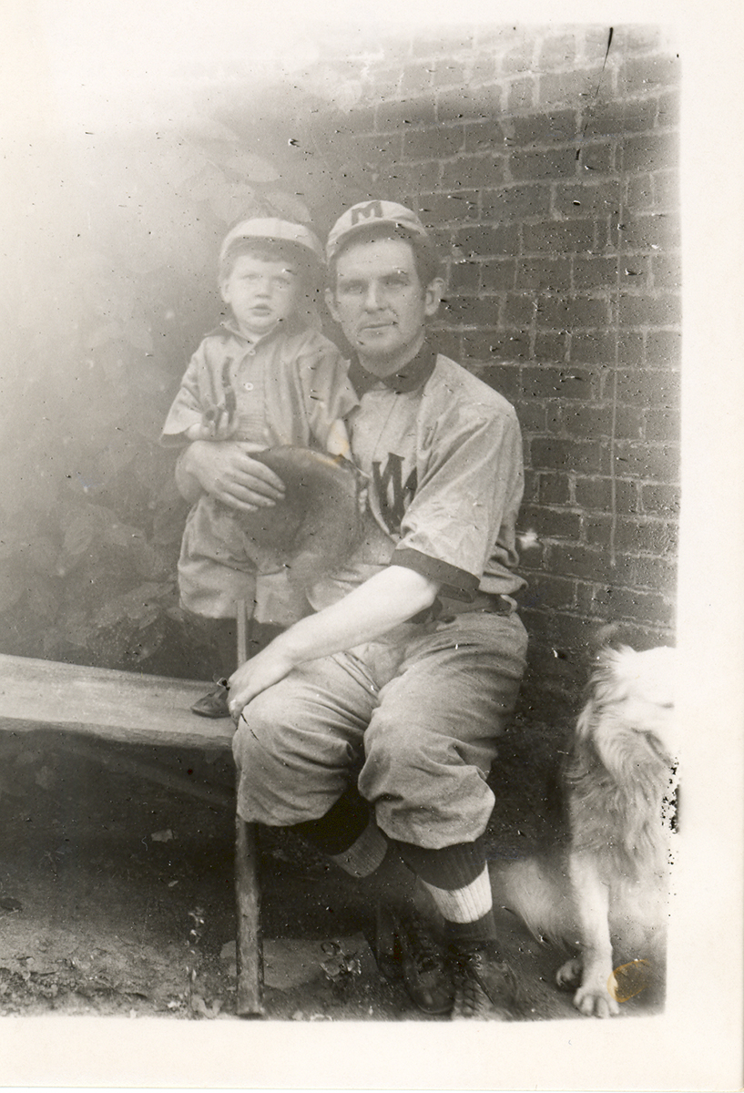 Portrait of Frank France in West Middletown baseball uniform with unknown child.