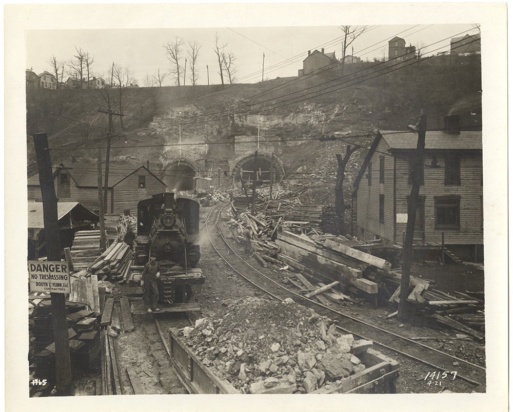 Construction in progress on the Liberty Tunnels, 1920-21. Heinz History Center.