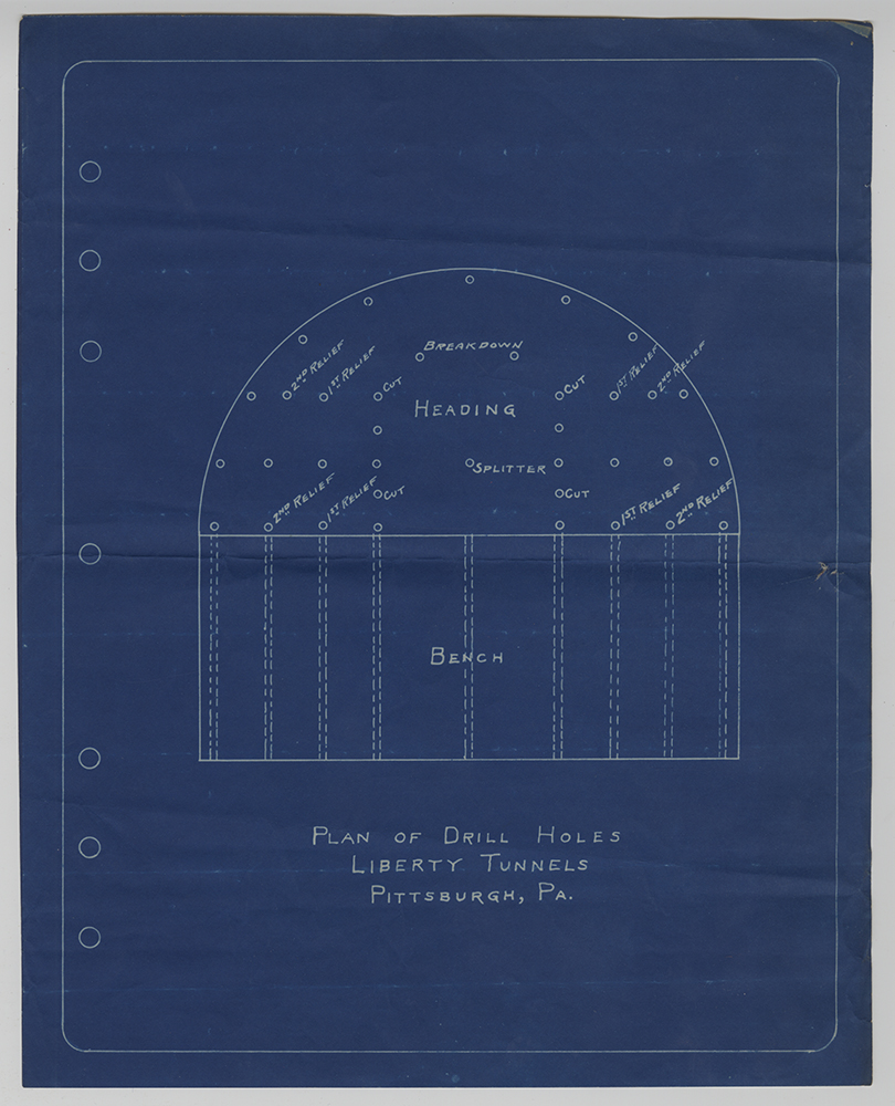 Blueprint for the plan of drill holes, Liberty Tunnels, c. 1919-1920. Heinz History Center.