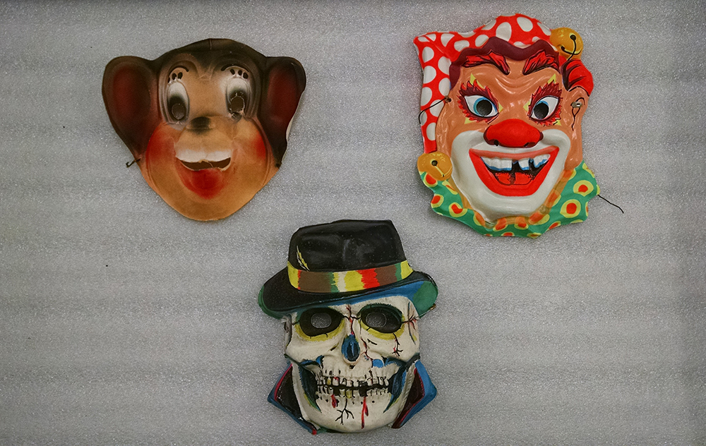 Halco Halloween masks made by the J. Halpern Co, Pittsburgh, c, 1960s. Prominent Pittsburgh banker Julius Halpern started making masks in 1930. Gift of Terri Greenberg, Heinz History Center Collection.