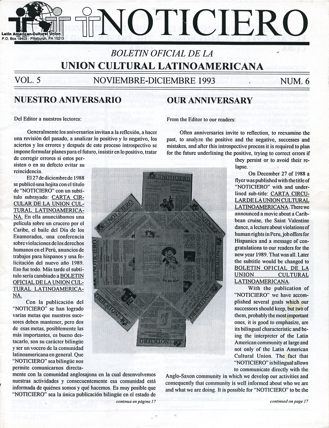 Front page of the November/December 1993 issue of Noticiero, a newsletter issued by the of Pittsburgh's Latin American Cultural Union. Heinz History Center.