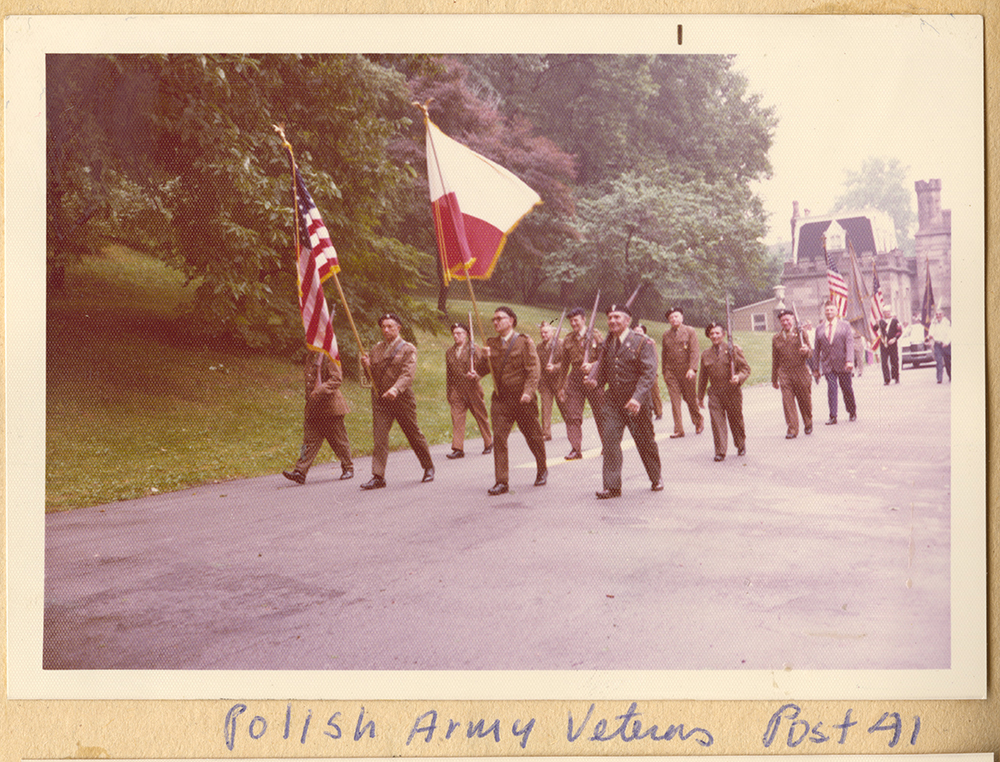 Polish Army veterans marching outside Allegheny Cemetery to celebrate the U.S. bicentennial, 1976. Heinz History Center.