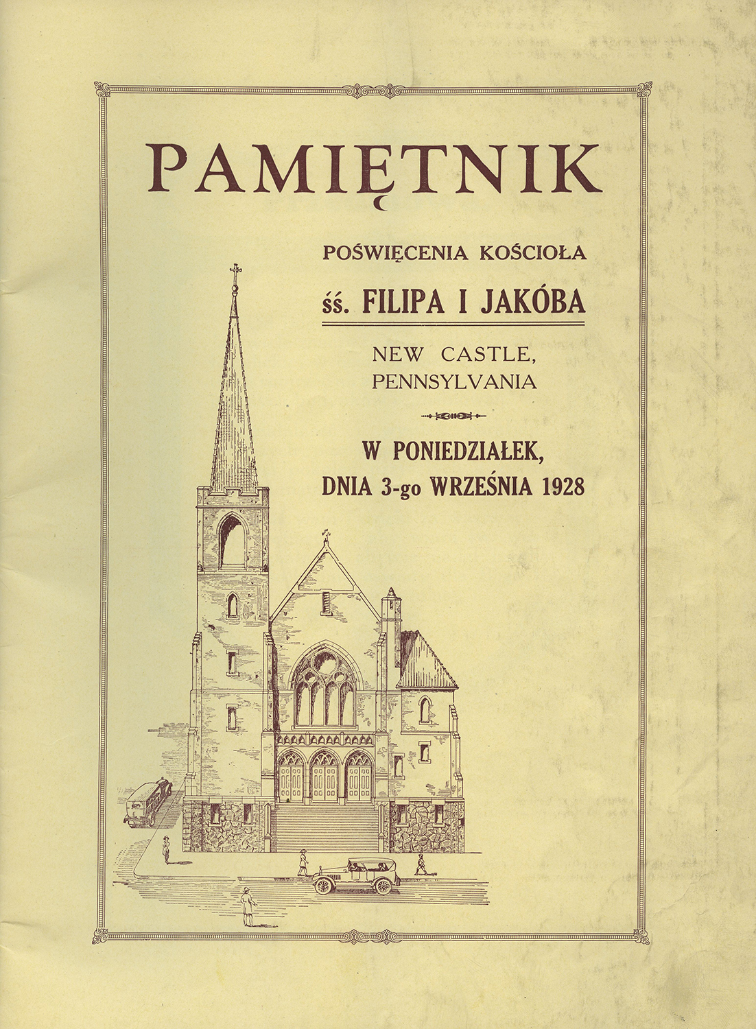 Page from a program for the dedication of the Saints Phillips and James Church in New Castle, Pa., which served a Polish ethnic parish. Heinz History Center.